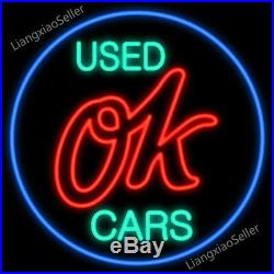 17X14 Chevy Vintage Ok Used Cars Beer Bar REAL NEON LIGHT SIGN Free Ship