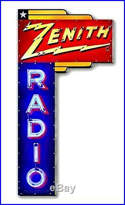 17 Neon Style Zenith Radio Marquis in Steel metal AD sign nostalgic 1936 VTG