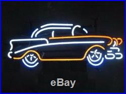 17x11Vintage Old Car Neon Sign Light Garage Wall Hanging Real Glass Tube Art