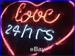17x14 Real Glass Neon Light Sign Vintage LOVE 24 hours Heart Lighting Art UK