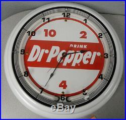 18 Dr Pepper Vintage Logo Sign Neon White Neon Clock Mancave Bar Garage