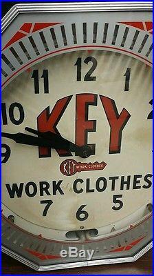 1940's Key Work Clothes NEON display clock sign Original Vintage Advertising
