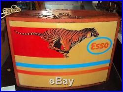 1950s ESSO TIGER OIL VINTAGE GAS STATION GARAGE LIGHT BOX SIGN NT PORCELAIN NEON