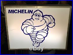 1950s MICHELIN TIRES LIGHT BOX SIGN VINTAGE GAS STATION GARAGE NT PORCELAIN NEON