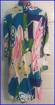 1970s Vintage Catherine Ogust Dress Signed Cotton Tunic Neon Bright Geometric