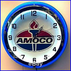 19 Amoco Oil Gas Vintage Logo Sign Double Neon Clock Blue Neon Chrome Finish