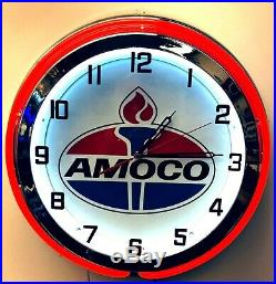 19 Amoco Oil Gas Vintage Logo Sign Double Neon Clock Red Neon Chrome Finish