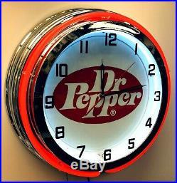 19 Dr Pepper Vintage Logo Sign Double Neon Red Neon Clock Mancave Bar Garage