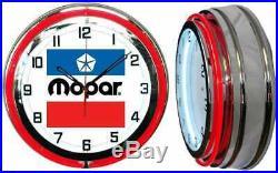 19 MOPAR Vintage Logo Sign Red Neon Clock Chrome Finish
