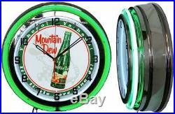 19 Mountain Dew Yahoo Vintage Bottle Sign Green Neon Clock Man Cave Bar Garage