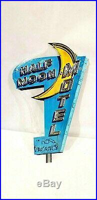 19 Neon Style Blue Half Moon Motel No Vacancy in Steel bar hotel USA sign VTG