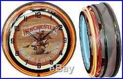 19 Winchester Firearms & Ammunition Sign Double Neon Clock Orange Neon Chrome