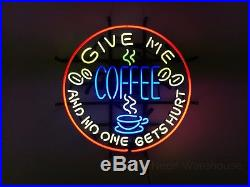 19x19 Real Glass Neon Light Sign Vintage Give Me Coffee Lighting Art UK Shop