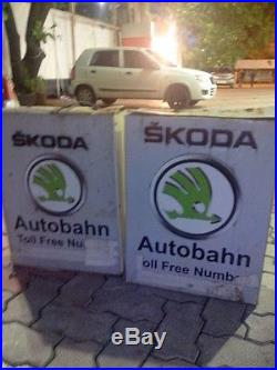 2 Skoda Light Box Signs Vintage Auto Car Dealership Garage Nt Porcelain Neon Gas