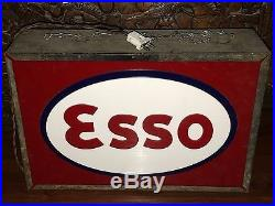 50s ESSO DOUBLE LIGHT UP BOX SIGN VINTAGE OIL GAS STATION GARAGE NT ENAMEL NEON