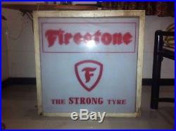 50s FIRESTONE TIRES VINTAGE AUTO OIL GAS GARAGE LIGHT BOX SIGN NT NEON PORCELAIN