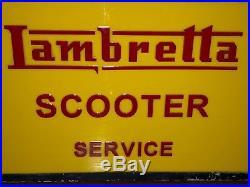 50s LAMBRETTA SCOOTER LIGHT UP BOX SIGN VINTAGE STATION GARAGE NT ENAMEL NEON