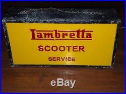 50s LAMBRETTA SCOOTER LIGHT UP BOX SIGN VINTAGE STATION GARAGE NT PORCELAIN NEON
