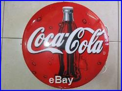 A VINTAGE 24 ROUND PLASTIC MADE, 3D COCA COLA SIGN, WITH NEON INSIDE, 90's. OR 358