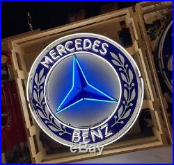 Amazing HUGE Vintage Mercedes Benz NEON Sign Garage Store Display RESTORED MINT