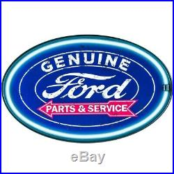 American Art Decor Vintage Ford Oval Shaped LED Light Up Sign Wall Decor for Man