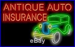 Antique Auto Insurance Neon Sign Jantec 32 x 20 Collision Accident Vintage