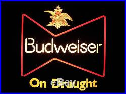 BUDWEISER On Draught Lighted Beer Sign, Neon Look, VINTAGE