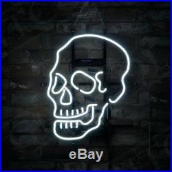 Bar Decor Gift Custom Vintage Skull Shape Neon Sign Porcelain Store Beer