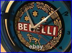 ^Benelli Firearms Shotgun Rifle Hunting Advertising Man Cave Neon Clock Sign