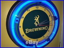 Browning Firearms Shotgun Gun Store Advertising Blue Neon Wall Clock Sign