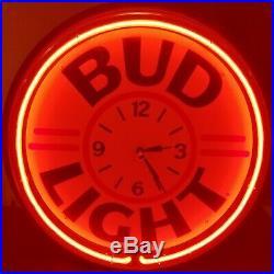 Bud Light Beer Neon Light Clock Sign Vintage Man Cave Bar