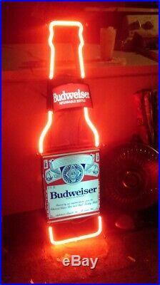 Budweiser Bottle Neon Sign Bud Light Busch Beer Bar Bikini Vintage Light 13x5