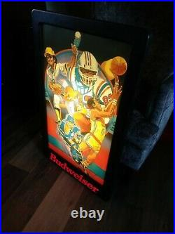 Budweiser Lighted Sports Sign Football Baseball Basketball Hockey TESTED! 36x32