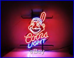 COORS Beer Light Indians Cleveland Vintage Bar Pub Club Lamp Neon Light Sign