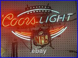 COORS LIGHT NFL Badge Neon Beer Bar Black Sign Vintage Official Sponsor Rare