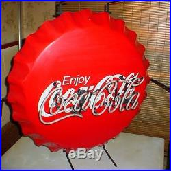 CR095 Vtg Coca Cola Coke Commercial Grade 27 Neon Bottle Cap Aluminum Sign