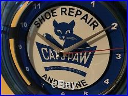 Cat's Paw Shoe Repair Cobbler Store Advertising Blue Neon Wall Clock Sign