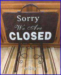 Closed Open Double Sided Curb Metal Decor Door Business Hours Vintage Style