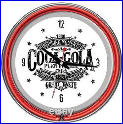 Coca Cola 1886 Vintage Logo Sign Home Accent Chrome Double Ring Neon Wall Clock