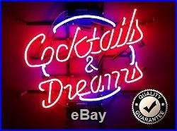 Cocktails & Dreams Neon Glass Light Sign Famous Vintage Bar Mancave Pub Club