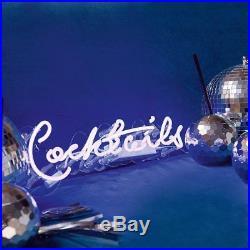 Cocktails Neon Blue Wall Light Vintage Inspired Bar Neon Tube Light