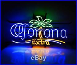 Corona Palm Tree Extra Vintage Real Display Lamp Beer Bar Glass Neon Sign Light