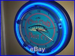 Creek Chub Fishing Lure Bait Shop Man Cave Blue Advertising Neon Wall Clock Sign