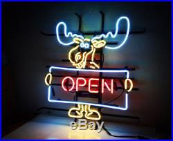 Deer Vintage Neon Sign Open Bistro Beer Bar Boutique Workshop Window Wall