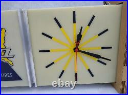 Delta Tires illuminated advertising Sign Clock. Neon Products inc NPI Vintage NOS