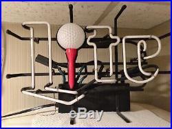 Extremely Rare Vintage Miller Lite Beer Golf Ball Neon Bar Light Sign