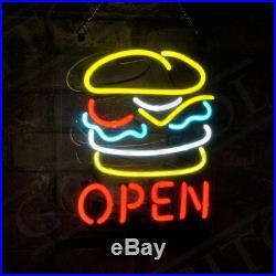 Hamburger OPEN Custom Vintage Neon Sign Gift Decor Beer Store Boutique Artwork