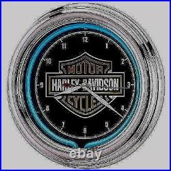 Harley Davidson Wall Clock Logo Neon Sign LED Retro Chrome Bar Pub Man Cave