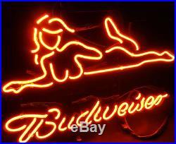 Hot Girl Vintage Budweiser Neon Sign Light Beer Bar Pub Christmas gift
