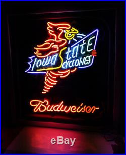 Iowa State Cyclones BEER Bar Neon Sign Light Open Bud weiser Vintage ME676